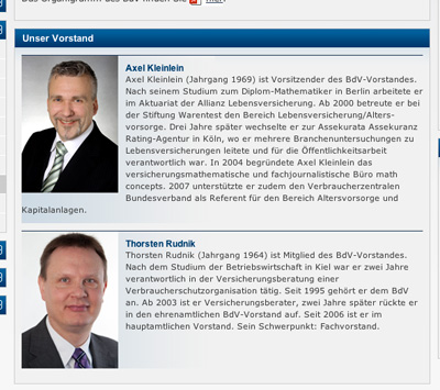 BdV-Vorstand: Screenshot von www.bundderversicherten.de vom Sonntag, den 24. März
