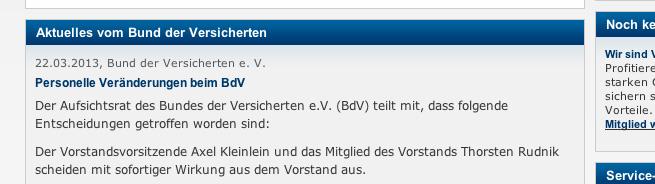 Keine weitere Stellungnahme des BdV: Die Webseite zeigte am 25. März immer noch die Meldung vom 22. März.