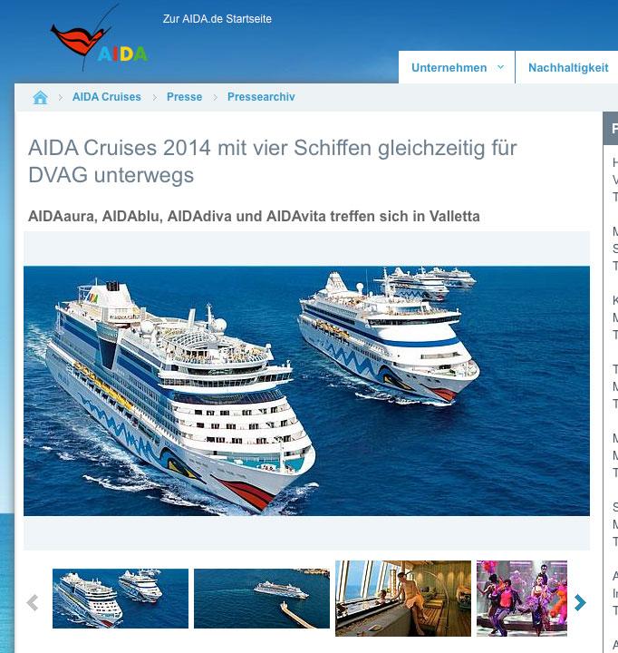 Screenshot: Aida-DVAG-Pressemeldung